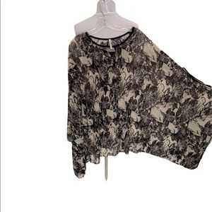 Floral Mesh Pullover Cape in Black and Cream